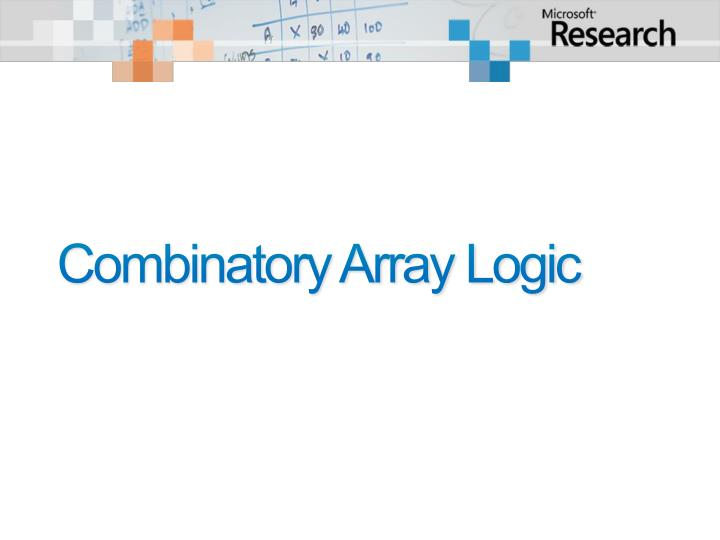 Combinatory Array Logic