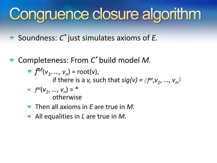 Congruence closure algorithm