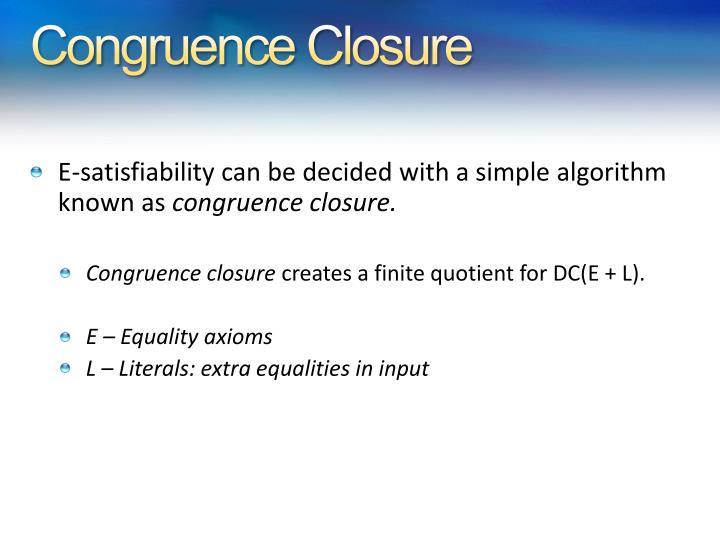 Congruence Closure