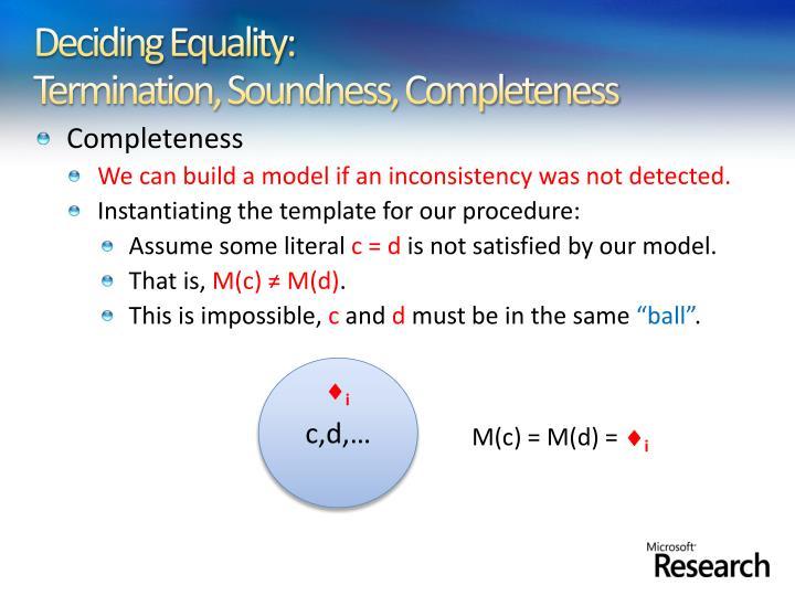 Deciding Equality: