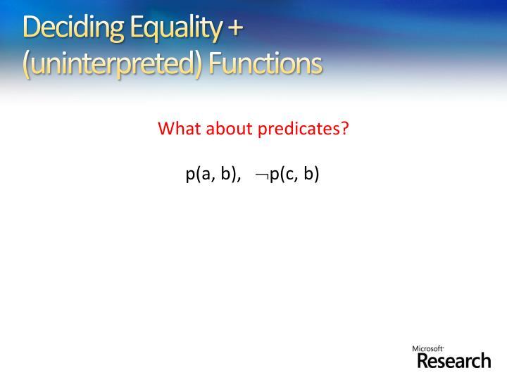 Deciding Equality +