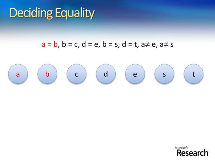 Deciding Equality
