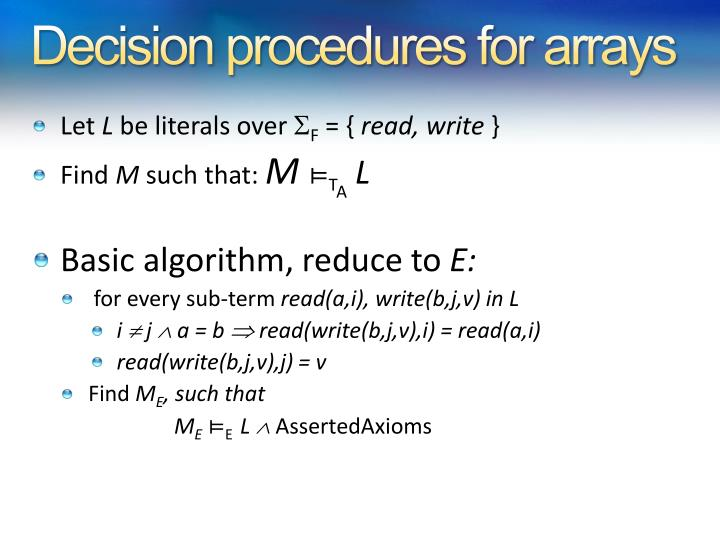 Decision procedures for arrays