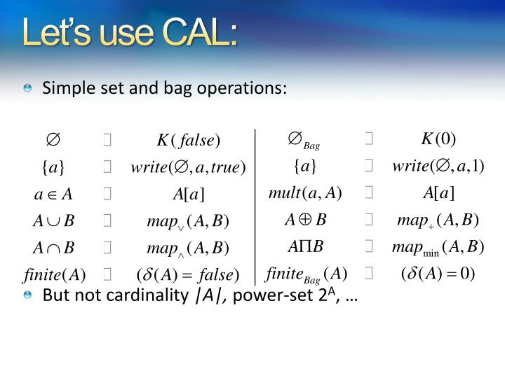 Let's use CAL: