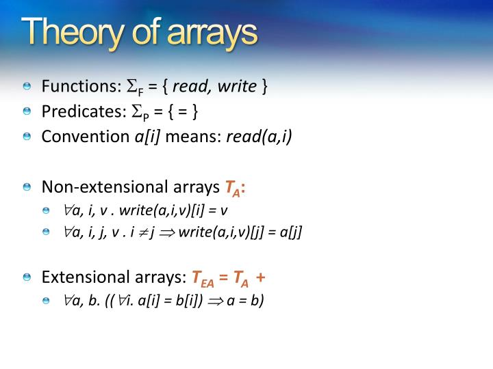 Theory of arrays