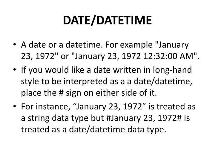 DATE/DATETIME