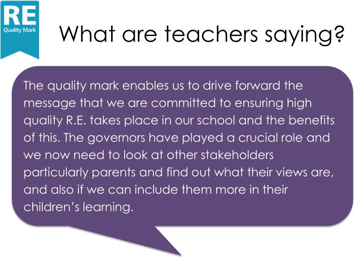 What are teachers saying?