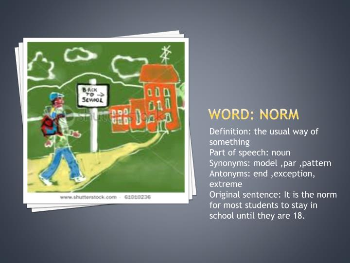 Word: norm