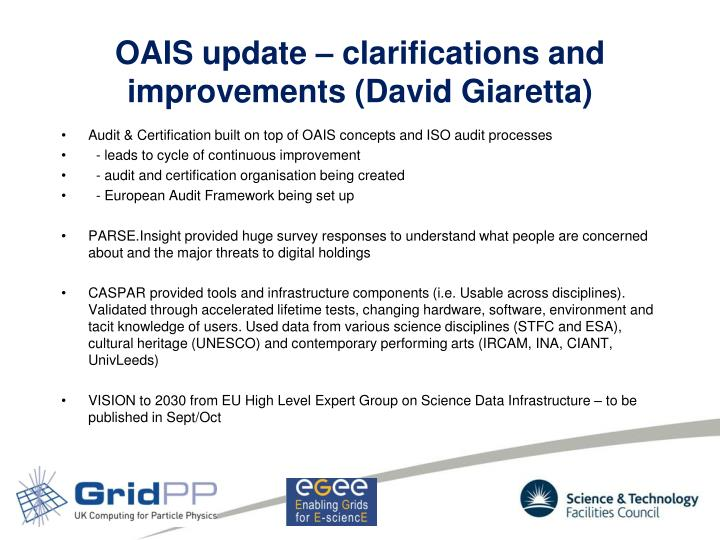OAIS update – clarifications and