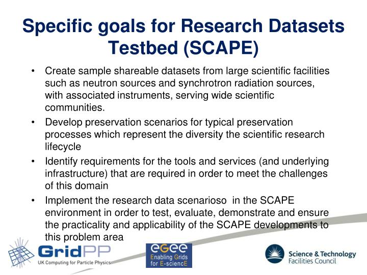 Specific goals for Research Datasets