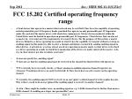 fcc 15 202 certified operating frequency range