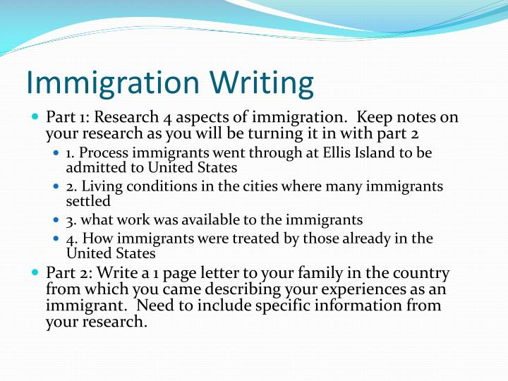 Immigration writing