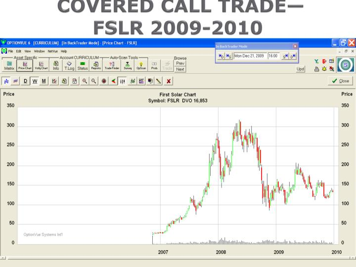 COVERED CALL TRADE—                		FSLR 2009-2010