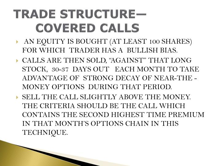 TRADE STRUCTURE— 	COVERED CALLS