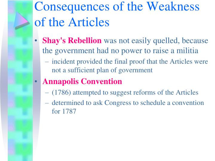 Consequences of the Weakness of the Articles