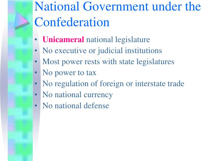 National Government under the Confederation