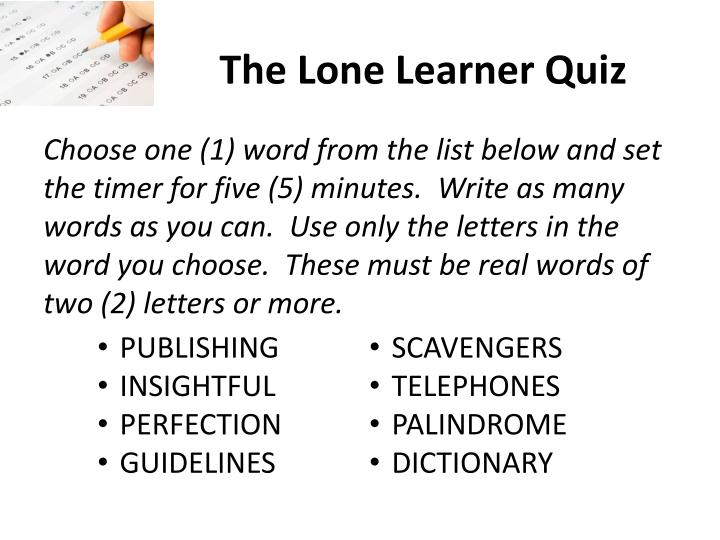 The Lone Learner Quiz