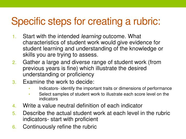 Specific steps for creating a rubric