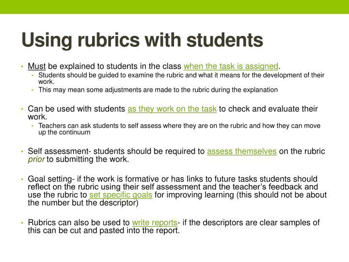 Using rubrics with