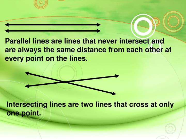 Parallel lines are