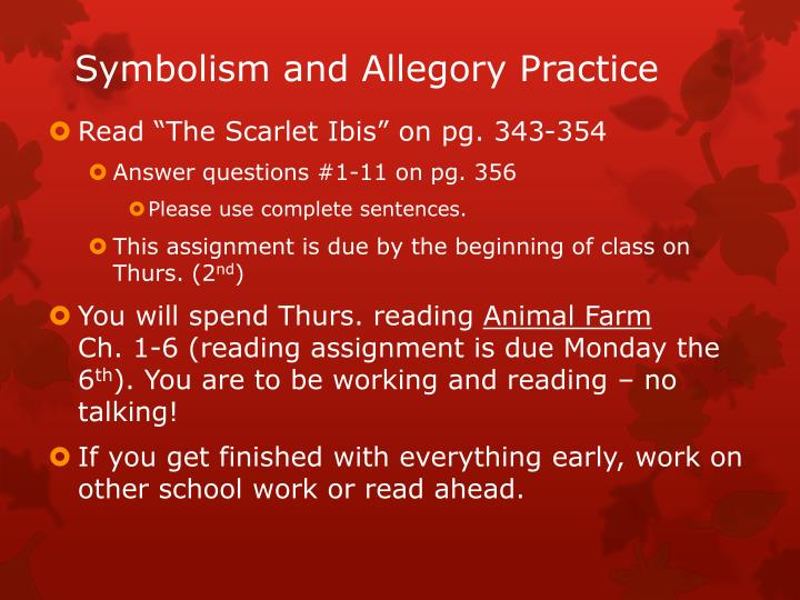 the scarlet ibis symbol analysis The scarlet ibis was the first and only work of hurst's to achieve widespread recognition it quickly achieved the status of a classic, being reprinted in many high-school and college literature text books its value to students of literature lies in its rich use of such devices as foreshadowing and symbolism, its sensitive use of.
