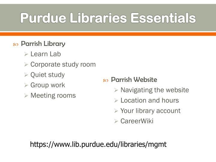 Purdue libraries essentials
