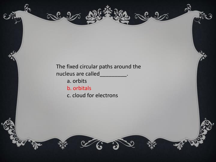 The fixed circular paths around the nucleus are called_________.
