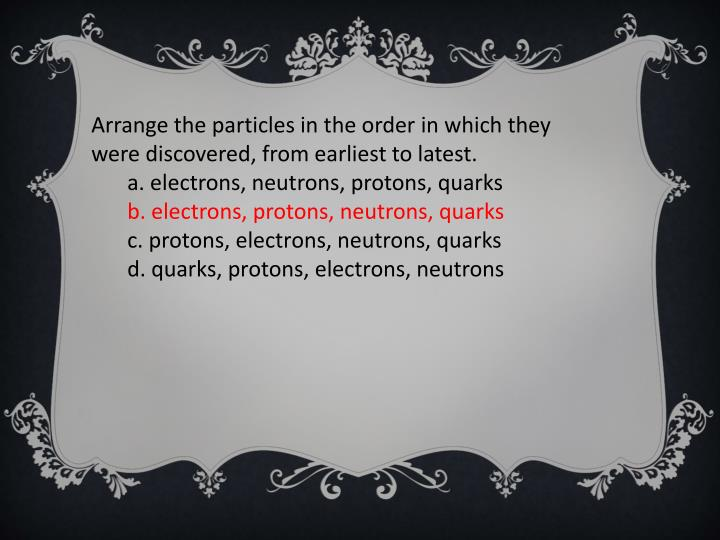 Arrange the particles in the order in which they were discovered, from earliest to latest.