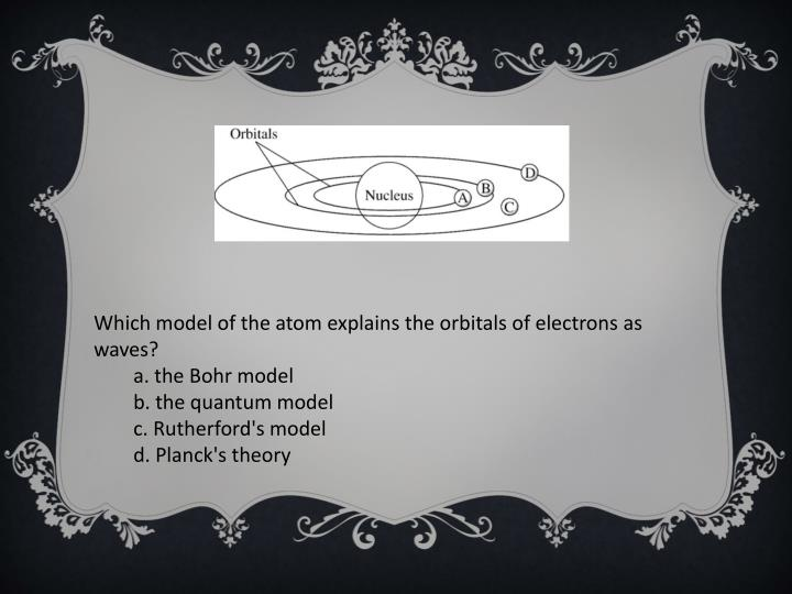 Which model of the atom explains the orbitals of electrons as waves?