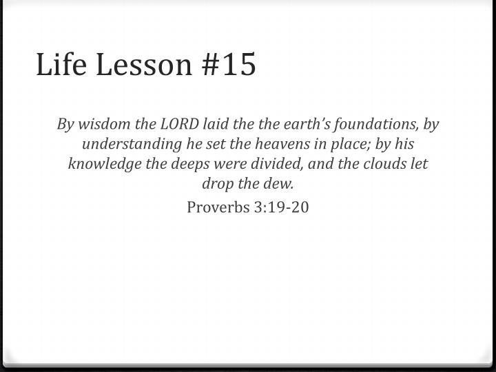 Life Lesson #15