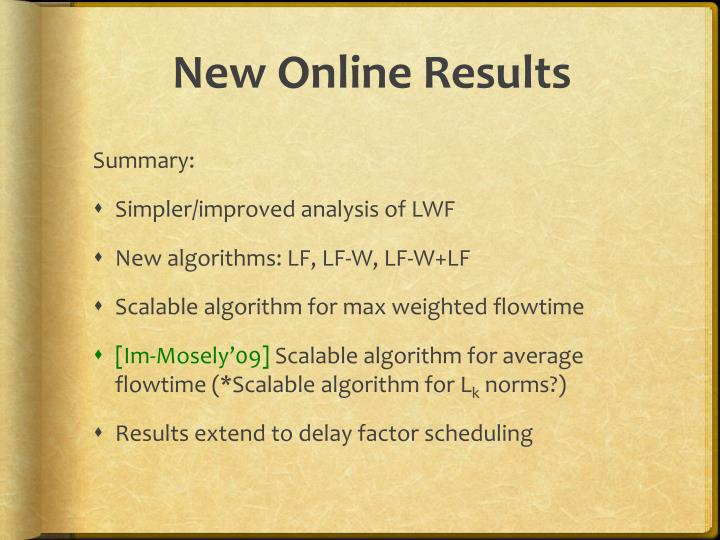 New Online Results