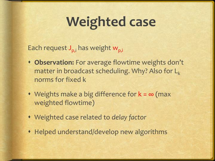 Weighted case