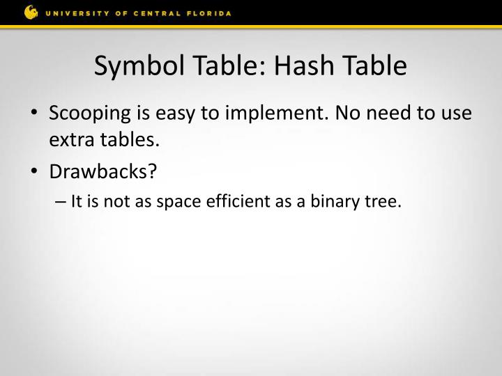 Symbol Table: Hash Table