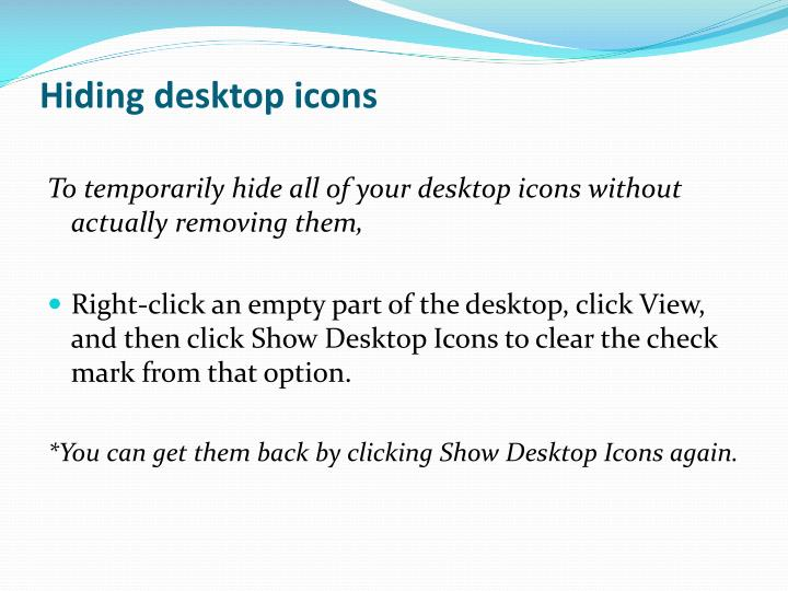 Hiding desktop icons