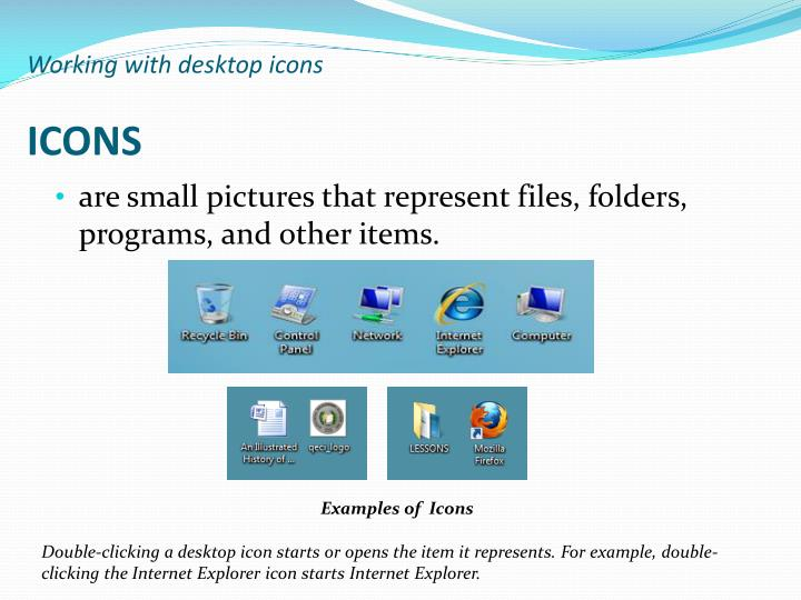 Working with desktop icons