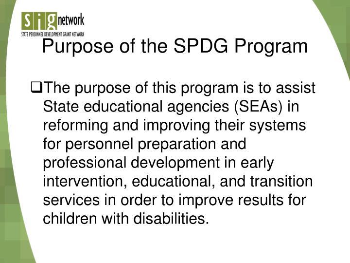 Purpose of the SPDG Program