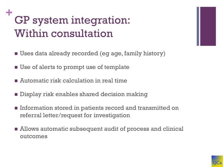 GP system integration: