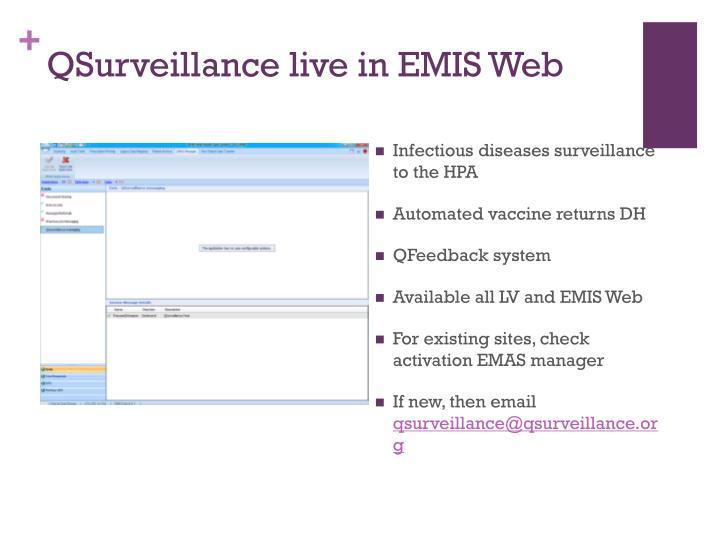 QSurveillance live in EMIS Web