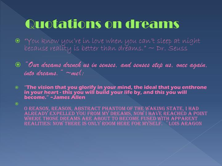 Quotations on dreams