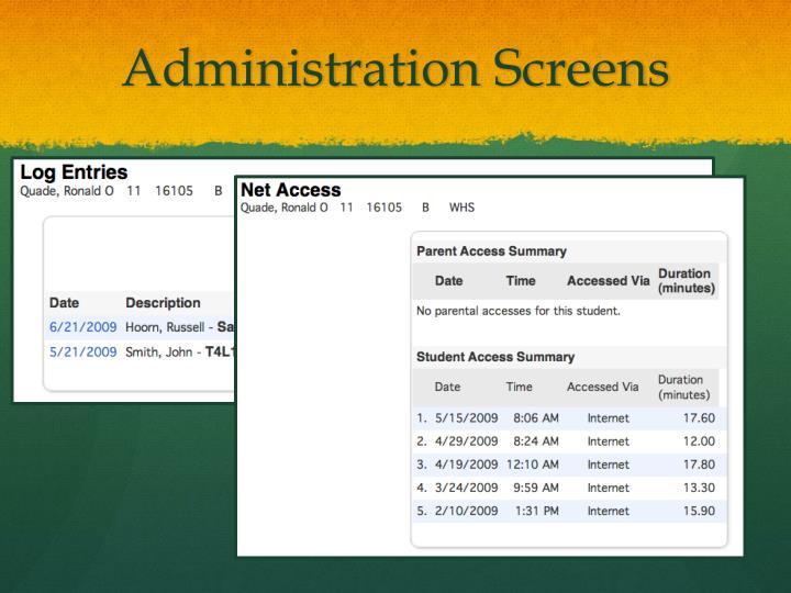 Administration Screens
