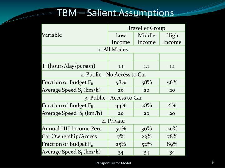 TBM – Salient Assumptions