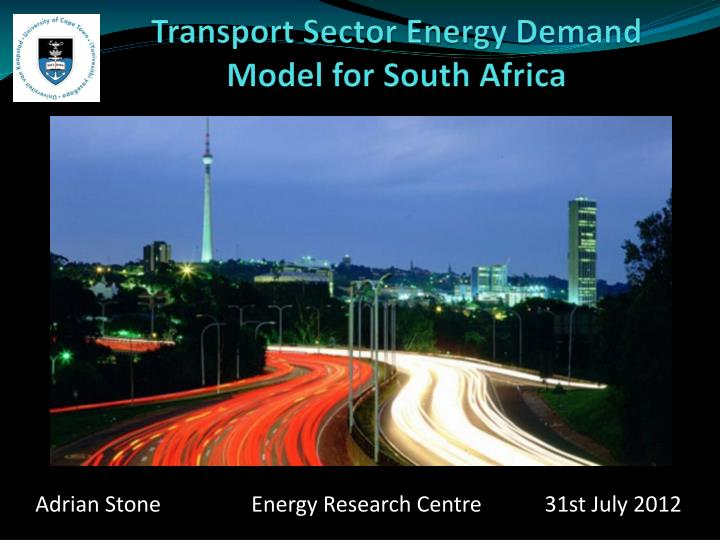 Transport sector energy demand model for south africa