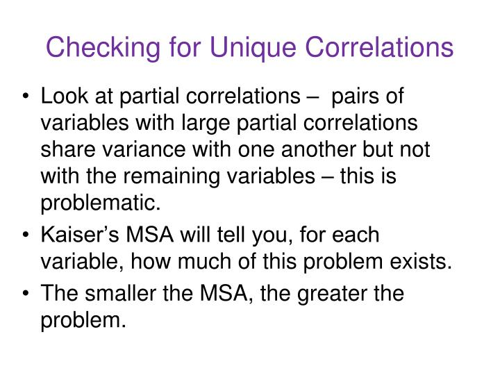 Checking for Unique Correlations