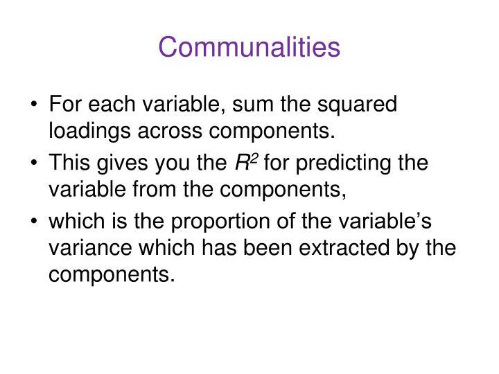 Communalities