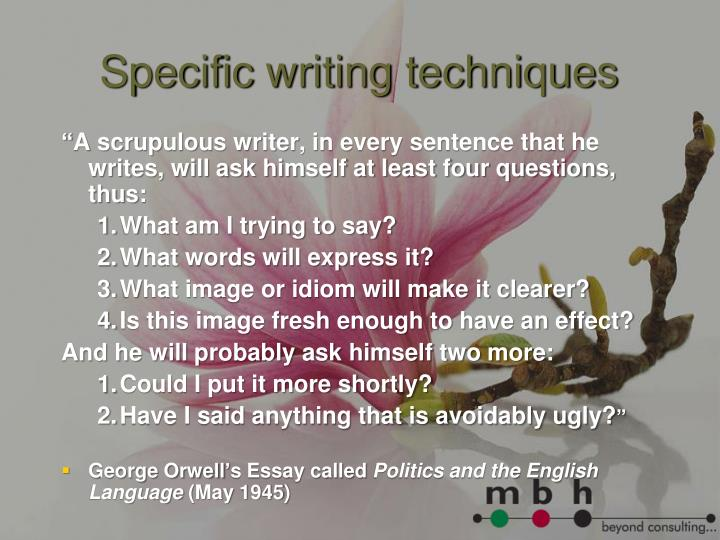Specific writing techniques