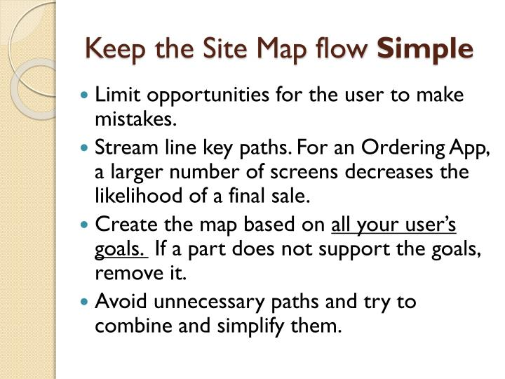 Keep the Site Map flow