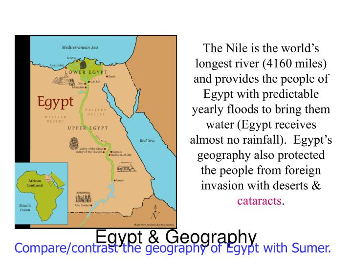 The Nile is the world's longest river (4160 miles) and provides the people of Egypt with predictable yearly floods to bring them water (Egypt receives almost no rainfall).  Egypt's geography also protected the people from foreign invasion with deserts &