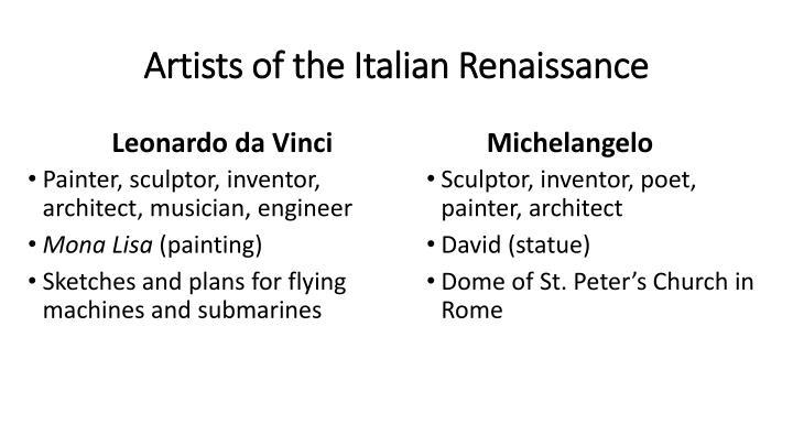 Artists of the Italian Renaissance