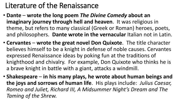 Literature of the Renaissance