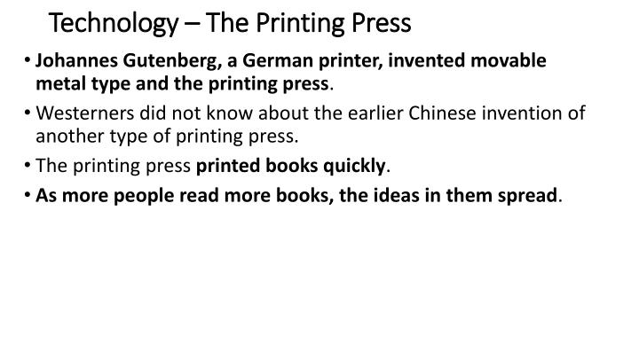 Technology – The Printing Press